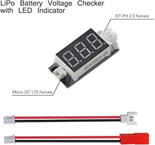 Makerfire RC LiPo Battery Voltage Checker with LED Indicator Micro JST 1.25 and JST-PH 2.0 Ports with Micro Losi and JST Cable for Tiny Whoop Blade Inductrix Quadcopter Drone