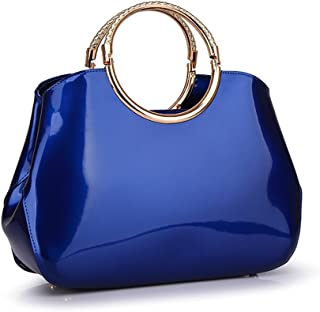 9007c1e92173 Mn Sue Sweet Lady Style Pure Bright Color Patent Leather Top Handle Purse  Evening Handbag for Women