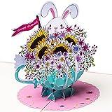 3D Geburtstagskarte - Häschen mit Blumenstrauß/Sonneblumen - Pop up Karte, Glückwunschkarte Geburtstag, Grußkarte Hase, Geschenkkarte, Happy Birthday Card, Geburtstagskarten