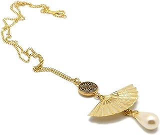 GINKGO Japan collana nera o perla madreperla ventaglio resina regali personalizzati Cerimonia di compleanno di Natale invi...
