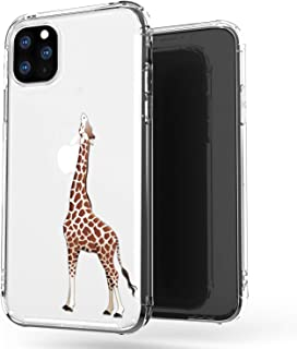 JAHOLAN iPhone 11 Pro Max Case Clear Cute Design Flexible Bumper TPU Soft Rubber Silicone Cover Phone Case for iPhone 11 Pro Max 6.5 inch 2019 - Amusing Whimsical Eating Giraffe Brown