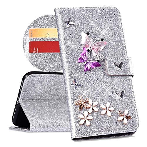 QPOLLY Cover Compatibile con iPhone 7 Plus/8 Plus, Cover Brillantini Glitter Pelle PU Flip Libro Portafoglio Magnetica Supporto Custodia con 3D Bling Cristallo Diamante Farfalla Fiori Design,Argento