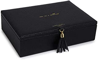 Katie Loxton One in a Million Womens Vegan Leather Tassel Jewelry Box Organizer in Black