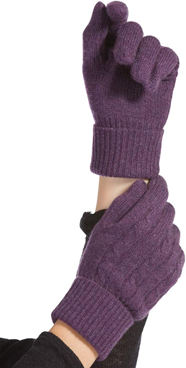 Fishers Finery Women's 100% Pure Cashmere Gloves | Cable Knit Design
