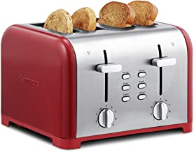 Kenmore 40604 4-Slice Toaster with Dual Controls in Red