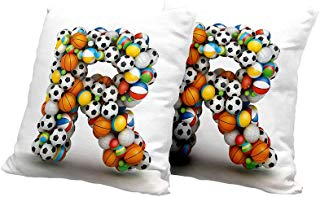 Square Cushion Cover Letter R,Realistic Looking Volleyball Basketball Soccer Balls Language of The Game Theme,Multicolor Cute Cushion Covers 14x14 INCH 2pcs