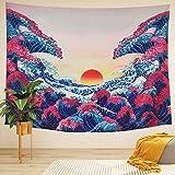 LIGICKY - Arazzo da parete con motivo a onde oceaniche e tramonto in 3D, colorato stampato, arte giapponese, decorazione per soggiorno, camera da letto, dormitorio, 130 x 150 cm