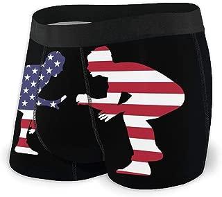 Men's Boxer Briefs American Wrestling Proud Wrestler Workout Stretch Comfortable Breathable Swim Bikini Novelty Underwear Black