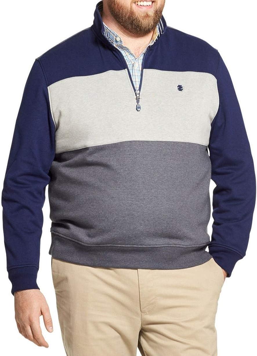 IZOD Men's Big and Tall Advantage Performance Colorblock Quarter Zip Fleece Pullover