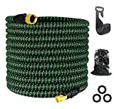 Garden Hose Expandable,Flexible Water Hoses, Super Durable 3750D Fabric,4-Layers Flex Strong Latex , No-Rust Brass Connectors with Pocket Protectors for Gardening /Car & Pet Washing (Black/Green,75FT)