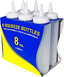 New Star Foodservice 26115 Squeeze Bottles, Plastic, 8 oz, Clear, Pack of 6