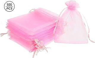 non-branded Borse in Organza,100 pz Sacchetti Regalo Grande Organza con Coulisse per portaconfetti Bomboniera Confetti Matrimonio Compleanno Battesimo Rosa 100 pz, 9 x 12 cm