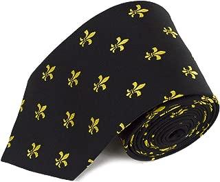 Fleur-de-lis Pattern Men's Classic Neck Tie - New Orleans Saints Lily Flower French Symbol - Black Gold & Purple Available