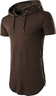 Sportides Mens Casual Longline T-Shirt Short Sleeve Hoodies Zipper Hip Hop Tee Tops JZA028