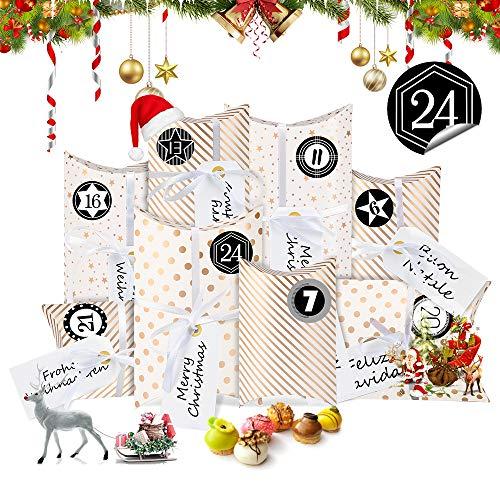 Bluelves Calendario de Adviento, Navidad Cajas de Regalo Pequeñas, Cajas de Almohadas Papel Kraft con Pegatinas Numeración 1-24 para Navidad Fiesta Artesanias Decoración(Oro)