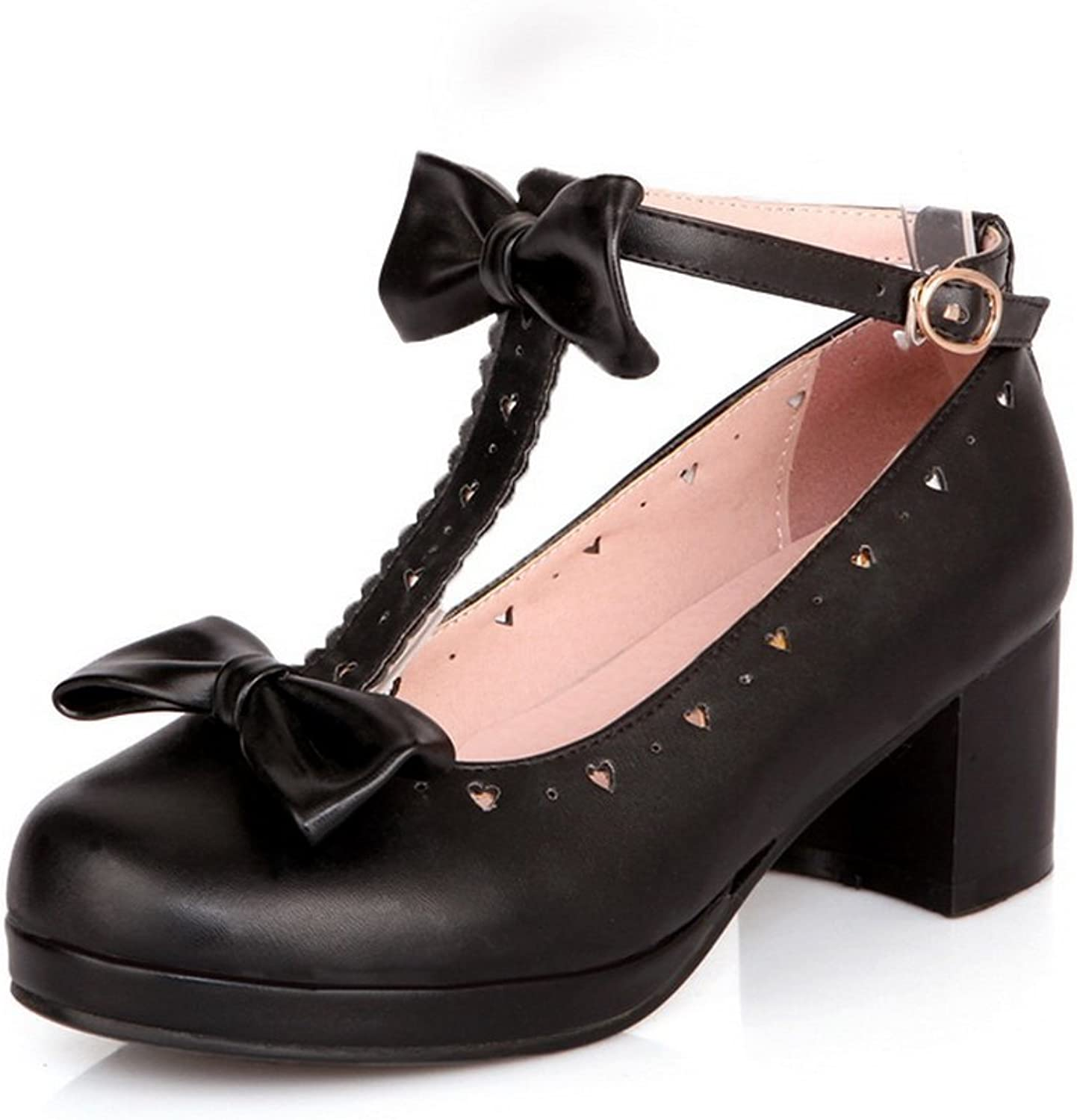 1TO9 Womens Buckle Spun gold Bowknot Round-Toe Black Rubber Pumps-shoes - 7.5 B(M) US