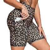 FITTOO Pantalones Cortos Deportivo Mallas Leggings Mujers Yoga Alta Cintura Elásticos Leopardo L