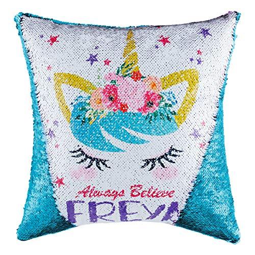 Funda de cojín reversible con lentejuelas y lentejuelas, para niños, niñas y niños, con purpurina, para sofá, cama, sofá decorativo de 16 x 16 pulgadas