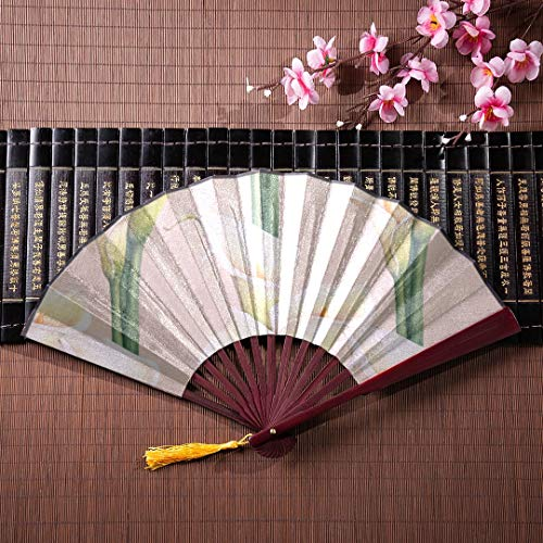 WYYWCY Abanico Chino Que cuelga Elegante Cala de Moda con Marco de bambú Borla Colgante y Bolsa de Tela Plegable Abanico Grande Abanico Grande Ventilador de Pared japonés Abanico japonés para niños