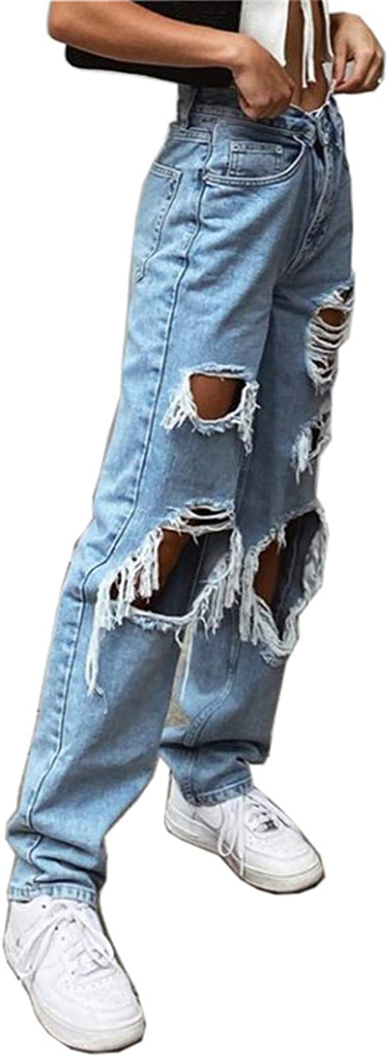 GOGOBO Y2K Fashion Jeans, Women Straight Leg Trousers High Waisted Denim Jeans with Holes Baggy E-Girl Streetwear Pants