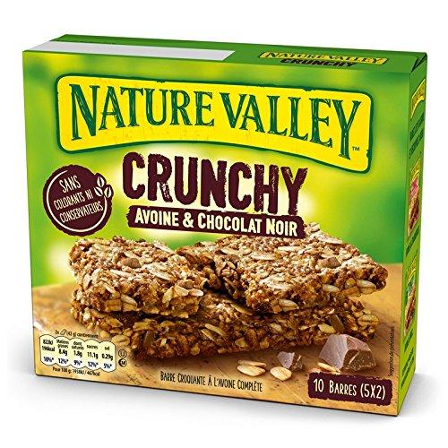 Nature Valley - Barres de Céréales Crunchy Avoine & Chocolat Noir - Boite de 10 barres de Céréales - Lot de 5 (50 barres)