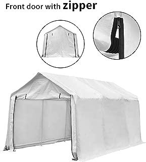 LEISURELIFE 10'x 17' Heavy Duty Carport Car Canopy, 8 Steel Legs, White, Waterproof, Anti-Exposure