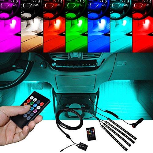 BRTLX Striscia Led Interni per Auto con 4 x 12 LEDs RGB,Suona la Funzione Attivata,Vari Colori Controllo Telecomando Luci abitacolo auto 12V per Decorative Interne