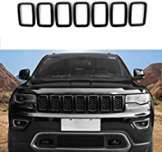 Front Grille Rings Grill Inserts Cover For 2017-2019 Jeep Grand Cherokee Black Grill Frame Trim Kit 7pcs (Black)