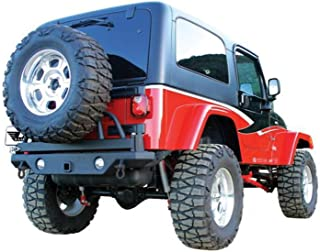 RAMPAGE PRODUCTS 76610 Semi-Gloss Black Rear Recovery Bumper with Swing Away Tire Mount for 1987-2006 Jeep Wrangler YJ & TJ