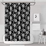YUYUTE Cortinas de baño Decoración de bañoBath Curtain Oriental Motif Plant Pattern White Black Shower Curtain Hooks Durable for Bathroom,Printing Bath Curtains