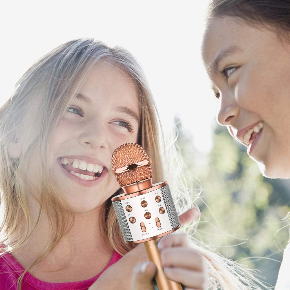 Bluetooth Microphone for Kids Girls Kids Microphones for Singing Girls Boys Christmas Stocking Stuffers for Teens Girls Champagne ATOPDREAM Boy Toys Age 4-6