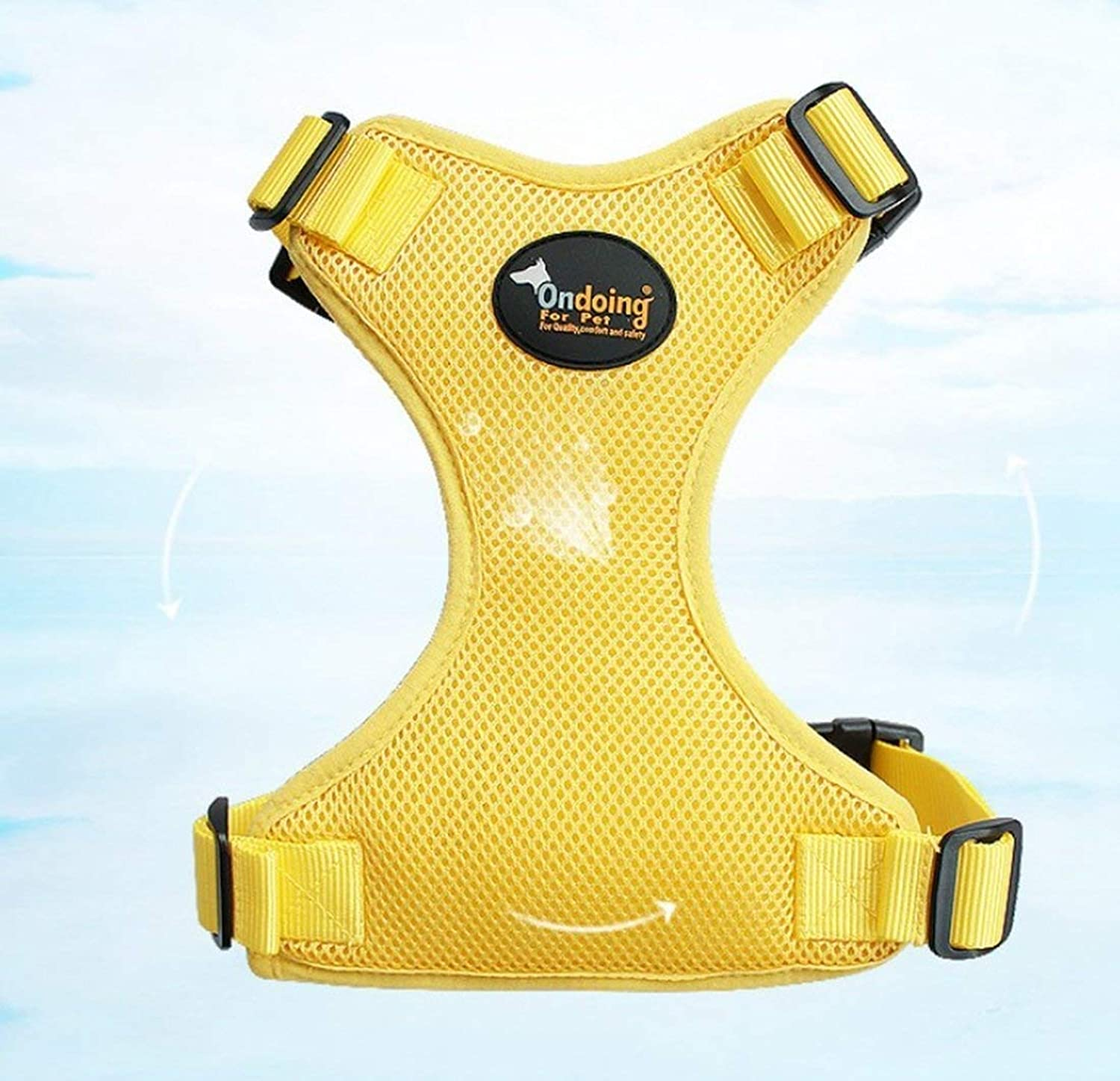 MON5F HOME Dog Mesh Sandwich Chest Strap With Traction Rope Set Wearresistant Breathable Pet Traction Supplies Pet Chain (color   Yellow, Size   S)