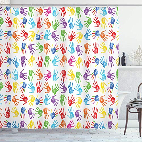 Colorful Shower Curtain,Human Handprint Kids Watercolor Paint Effect Open Palms Collage Art Work Print,Cloth Fabric Bathroom Decor Set with,Multicolor with 12 plastic hooks 180x210cm