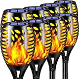 TomCare Solar Lights Outdoor 8 Pack Flickering Flames Solar Torches Lights Outdoor Solar Landscape Landscape Decoration Lighting Dusk to Dawn Auto On/Off Pathway Lights for Garden Patio Driveway