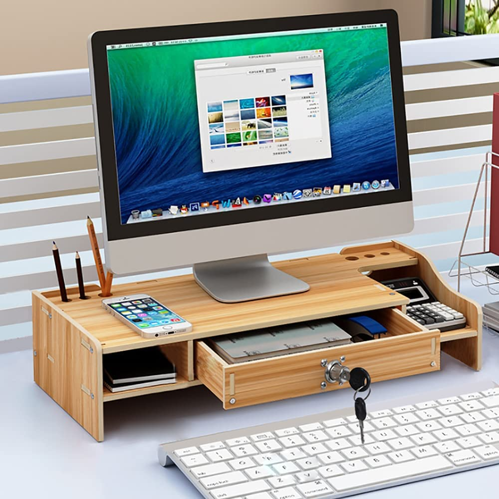TBVECHI Monitor Stand Riser with Drawer, 2 Tier Computer Desk Stand with Pull Out Storage Drawer for Laptop,Computer, PC, Printer, Ergonomic Multi Media Desktop Stand Desk Accessories