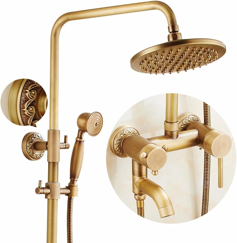 NewBorn Faucet Küche oder Badezimmer Waschbecken Mischbatterie antiken Sprühkopf voll Kupfer Lift Dusche Retro Dusche warm kalt Wasser Dusche Set B Tippen