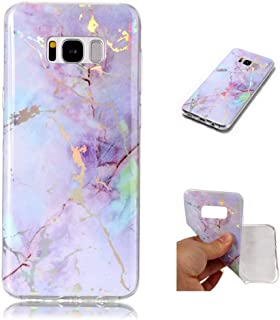 for Samsung Galaxy S7 Case LAPOPNUT Luxury Shiny Marble Pattern Flash Map Holographic Clear Case Stone Texture Collection Print Slim-Fit Protective Soft TPU Cover for Samsung Galaxy S7, Purple