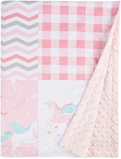 Baby Blanket Super Soft Pink Unicorn Blanket for Girls, Cozy Minky with Double Layer Dotted Backing, Beauty Plaid Design 30 x 40 Inch
