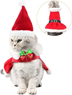 Wiz BBQT Adjustable Christmas Costume Santa Pleated Skirt with Hat and Collar Bow Tie for Small Cats Dogs Rabbits Puppy Pets Party Dress