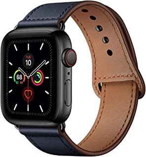 YALOCEA Compatible with Apple Watch Band 42mm 44mm, Genuine Leather Band Replacement Strap Compatible with iWatch Series 5 4 3 2 1 44mm 42mm, Dark Blue