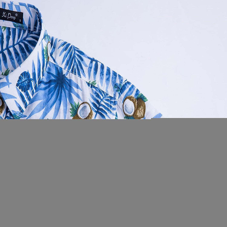 Summer Casual Aloha Shirts for Men 100% Cotton Hawaiian Shirts Button Down Short Sleeve Beach Shirts