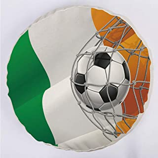 YOUWENll Round Decorative Throw Pillow Floor Meditation Cushion Seating/Sports Theme Soccer Ball in a Net Game Goal with Ireland National Flag Victory Win/for Home Decoration 17