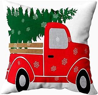 Ducan Lincoln Pillow Case 2PC 18X18,Fundas De Almohada De Cama,Fundas De Almohada Roja Navidad Roja Camión Árbol Verde Funda De Almohada Suave,Fundas De Almohada De Navidad,Azul Verde