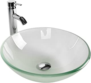 Tempered Glass Vessel Bathroom Vanity Sink Round Bowl, Chrome Faucet Pop-up Drain Combo, Frosted