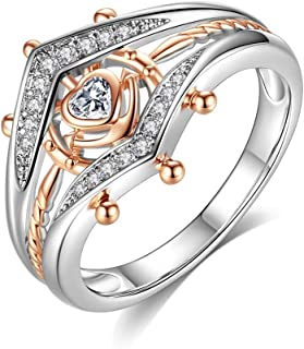 HYLJZ Anello Exquisite Heart AAA Zircon Ring Two-Color Ring for Women Engagement Wedding Ring Jewelry Gift Glamour Female ...