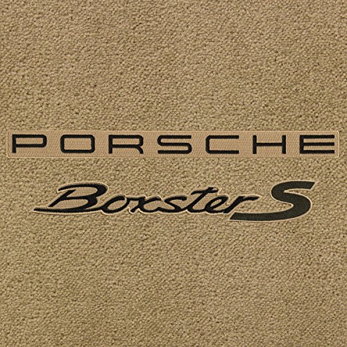 Lloyd Mats - Ultimat Bamboo Front Floor Mats for Porsche Boxster 2000-18 with Black Porsche Boxster S Lettering on Beige Applique