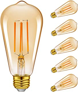 Vintage Edison LED Light Bulbs, Emotionlite Dimmable E26 Bulb, 4W(40W Equivalent), Amber Yellowish, 2200K, ST64 Teardrop, 6 Pack, UL Listed