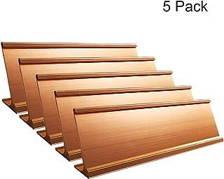 """2"""" x 8"""" Aluminum Desk Name Plate Holder, Office Business Desk Sign Holder Desktop-5 Pack (Rose Gold)"""