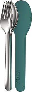 Joseph Joseph Couvert Nomades Aimanté avec Étui de Rangement Acier Inoxydable/Silicone Turquoise Foncé 5,5 x 3,5 x 19,5 cm