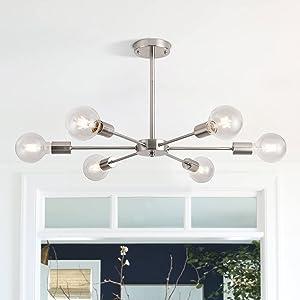 LIMEIJUA Modern Sputnik Chandelier 6-Light Mid Century Pendant Light Semi Flush Mount Ceiling Light,for Kitchen Island Dining Room Living Room Foyer Coffee Bar Bedroom,Satin Nickel